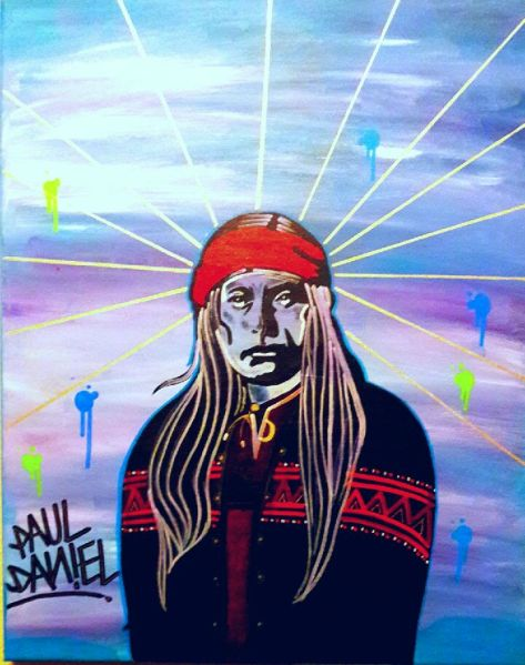"""Son of Cochise: Chief Naiche Chokonen Band Chiricahua Warrior"" $400 18x20 Mixed Media"